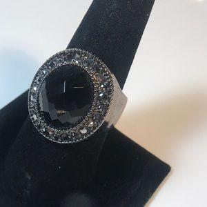 Premier Designs size 10.75 faceted black ring